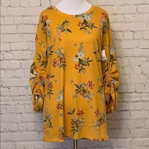 Como Vintage Tops - Yellow Knit Flower Print Top. NWT